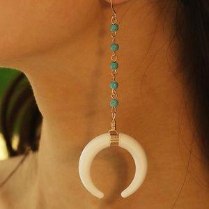 Moon and Seed Boho Drop Earrings